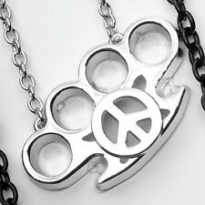 NEW PUNK GOTH JEWELRY BRASS KNUCKLE PEACE SIGN PENDANT CHAIN NECKLACE #GYW505
