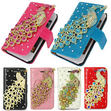 Hot Sale Leather Flip Peacock Bling Handbag Wallet Case Cover For iPhone 4G 4S