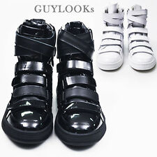 Designer Homme Mens Multi Strap Velcro High Top Real Leather Sneakers By Guylook