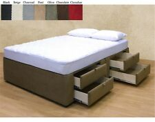 NEW Upholstered Microfiber Platform Bed with 8 Storage Drawers in Queen and King