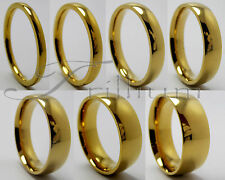 18k Gold Plated Tungsten Carbide Wedding Band, Men & Women Ring - Size 4 to 14.5