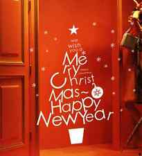 Hand Carvin Merry Christmas Happy New Year Snowflake window wall stickers UK