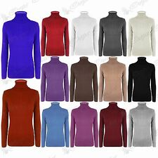 Womens Ladies Turtle Polo Neck Long Sleeves Ribbed Sweater Jumper T Shirt Top