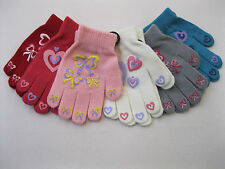 GIRLS BOW AND HEART PRINT MAGIC GLOVES WITH GRIP ONE SIZE AVAILABLE IN 6 COLOURS