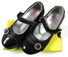 Boardwalk Girls Black Edeva Diamonte Flat Velcro School Shoes 7 - 12 Yrs BNWT