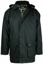 New Mens Wax Padded Countrymen Cotton Hooded Jacket/Top Hunting Fishing Farming