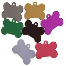 Pet ID Tag Tags, Quality 32mm & 38mm Anodised Bone Shape with Tab-ENGRAVED FREE