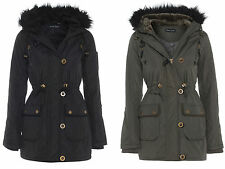 NEW WOMENS WINTER LADIES QUILTED PARKA FAUX FUR HOODED GIRLS COAT JACKET