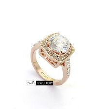 18K Rose Gold Plated Round Cut SWAROVSKI ELEMENTS CRYSTALS Square Ring R519