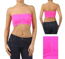 New PADDED TUBE TOP Seamless Strapless Cupped Bra Bandeau Fits Tube Top One Size