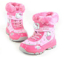 Hello Kitty NEW Kids FUR Winter Snow Boots Shoes for Girls Ankle Ski Waterproof