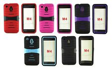 Heavy Duty Double Layer Hybrid Kickstand Gel Cover Hard Case for HTC One Mini M4