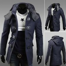 Men's Warm Winter Trench Coat Long Jacket Zip Button Hoodie Overcoat Outwear NWT