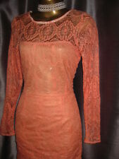 New Vintage Style Nude Lace Pencil Wiggle Cocktail Dress Evening Party 50-60's