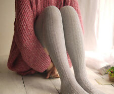 1 x Lady Woman Knit Over Knee Thigh High Stockings Socks Wool Winter Soft Gift