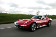 Poster of Chevy Corvette C3 Stingray Left Front Red HD Print