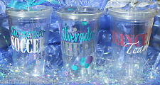Personalized Tumbler Cup with Straw- Cheer, Dance, Soccer, Team, Coach
