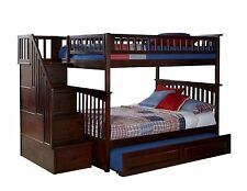 Staircase Bunk Bed with Stairs Full over Full Storage Stairway - Walnut Finish