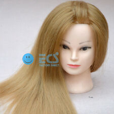 """25"""" S Cosmetology Salon Human Blonde Hair Synthetic Training Head Mannequin Real"""