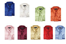 Men's Fashion dress shirt  100%  polyester satin with tie and hanky SG 08