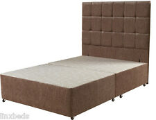 Mocha Chenille Bed Base with Floor Standing Buttoned Headboard FREE Delivery