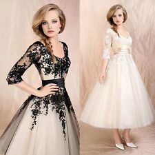 Black/Ivory Lace Sleeves A-line Cocktail Formal Wedding Dress Bridal Tea Length