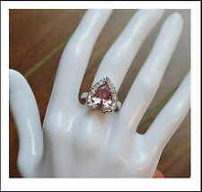 Ring NEW Silver Rhodium Plated Blings like a diamond CZ Large Pink Heart Ring