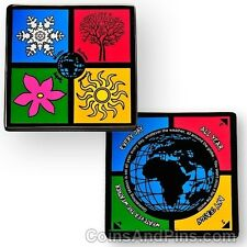 Four Seasons Geocoin For Geocaching - Available in Polished Gold Or Black Nickel