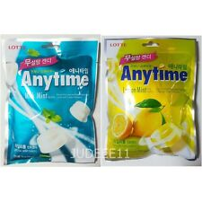 Lotte Anytime Sugar Free Xylitol Candy Milk Lemon Mint Flavor 74g FREE SHIPPING