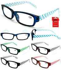 Plastic Color Reading Glasses with Checkered Design