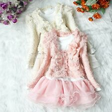 2PC Xmas Girls Outfit Flower Jacket Top Tutu Skirt Dress Party Wedding Gift 3T-6