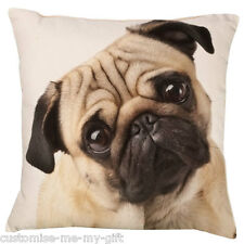 Pug Face Cushion -  Add your own text choice | Gift | Cute dog