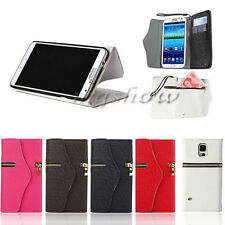 Magnetic Flip Leather Zipper Wallet Case Cover For Samsung Galaxy S4 S3 Note3