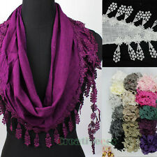 Stylish Women Girl's Lace Triangle Scarf Shawl Wrap Floral Lace Trim Tassel