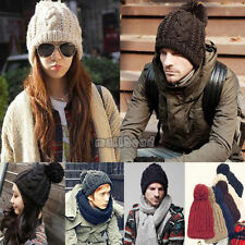 Mens Womens Winter Fashionable Beanie Bobble Hat Warm Knitted UK Seller Free P&P