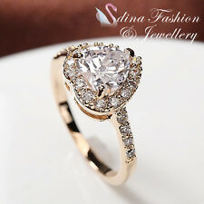 18K Yellow Gold Plated Simulated Diamonds Studded Halo Eternity Heart  Ring