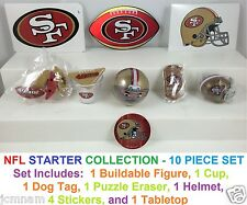 NFL DOG TAGS, BUILDABLE FIGURINE, STICKERS, HELMET, TABLETOP, CUP, ERASER, 9 PCS