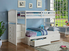 KIDS BUNK BED WITH STAIRS W/ BUILT-IN 4 CHEST / TWIN-TWIN OR TWIN-FULL / WHITE