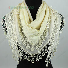 Fashion Women's Floral Mesh 2-Layer Triangle Scarf Shawl Wrap Lace Trim Tassel