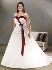 Plus-Size White&Burgundy/Ivory&Burgundy Wedding Dress Bridal Gown Stock Sz:14~24