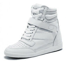 Womens White Strap High Top Sneakers Wedge Trainers Ladies Platform Ankle Boots