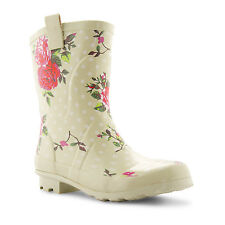 NEW WOMENS COLOURFUL WELLINGTON FESTIVAL RUBBER WINTER LADIES MID CALF BOOTS UK