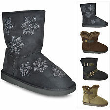 Ladies Womens Low Heel Pull On Warm FUR New Snow Winter Boots Booties Shoes Size