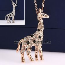 A1-P006 Fashion Giraffe Necklace Pendant 18K GP use Swarovski Crystal
