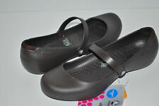 NEW NWT CROCS ALICE WORK FLATS ESPRESSO BROWN shoes 5 6 7 8 9 10 slip resistant