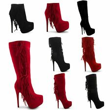 NEW LADIES ZIP UP PLATFORM TASSLE KNEE LENGTH STYLISH FASHION BOOTS SIZE UK 3-8