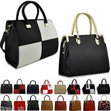 Women's Ladies Designer Faux Leather Celebrity Tote Bag Shoulder Satchel Handbag