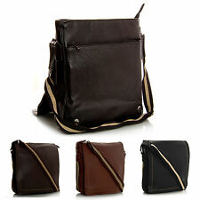 New Unisex Womens Men Faux Leather Multi Pockets Shoulder Mesenger Bag - Small