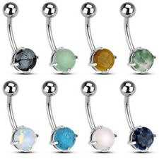 Solitaire Semi-Precious Belly Ring Natural Stone Pierced Navel Naval 14g Prong