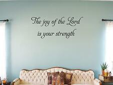 "Wall Sticker ""THE JOY OF THE LORD IS YOUR STRENGHT"" Quote Vinyl Decal SP-49-A1"